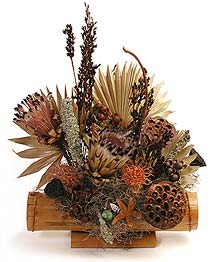 Tropical Dried Flower Arrangement in Bamboo