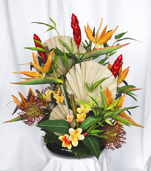 Tropical Silk Flower Arrangement in Bamboo