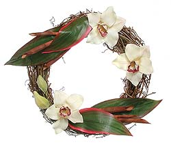Silk Orchid Wreath